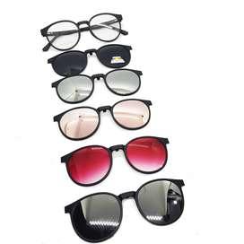 Lentes Montura Magnética Gafas 5 En 1 Ref 12160 Polarizado Uv 400