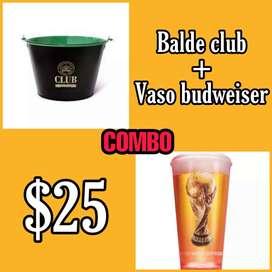 ¡COMBO! Balde club y Vaso Budweiser