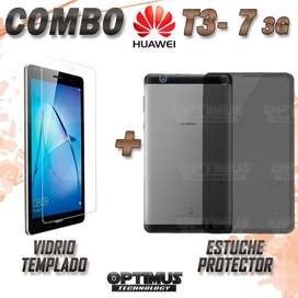 Combo Vidrio Templado Cristal Screen Protector y Estuche Case Manguera de silicona Tablet Huawei T3 7 3G sim card