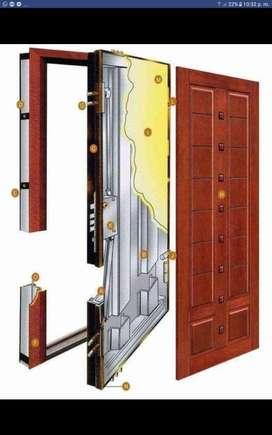 Puerta Blindada de Caoba