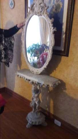 Mueble en marmol con espejo