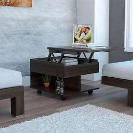Mesa auxiliar Salento, caoba con espacio extendible y rodachines de freno