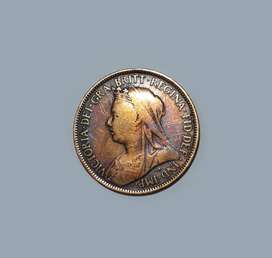 Moneda de Reino Unido, medio penny 1897, Reina Victoria, F