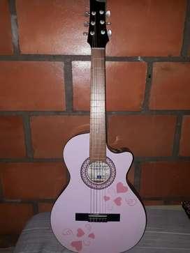 Guitarra Color Rosado Con Su Estuche
