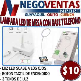 LAMPARA LED DE MESA CON BASE PARA TELEFONO EN DESCUENTO EXCLUSIVO DE NEGOVENTAS