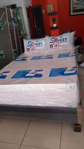 Basecama+colchon semiortopedico 2 almohadas