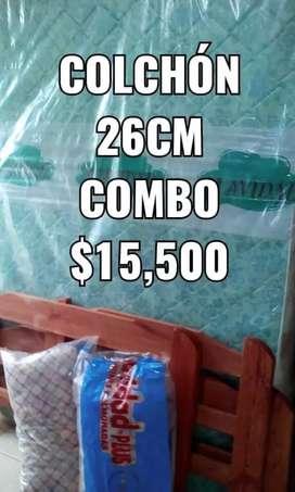 COMBO 2PL CAMA +COLCHÓN +ALMOHADAS