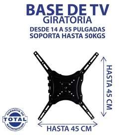 Soporte Base TV Giratoria 14 A 55 Pulgadas. Soporta Hasta 50 Kg, LED
