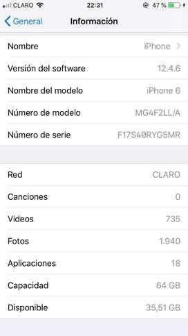 Vendo iphone 6 normal de 64 gn