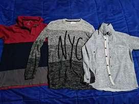 3 prendas de vestir para niños de entre  8 años a 12 años
