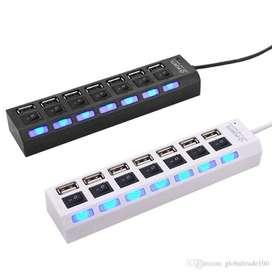 Hub 7 puertos USB 2.0 de alta velocidad 480 Mbps con interruptor de encendido Concentrador /Multipuertos /Extension USB