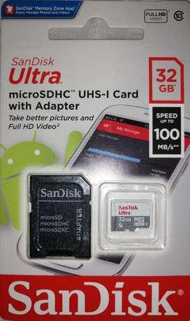 En venta memorias Micro SD Sand Disk 32 Gb velocidad 100Mb/s