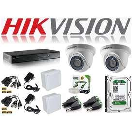 Kit 2 Camaras De Seguridad Hikvision Hd 720p + Dvr 8
