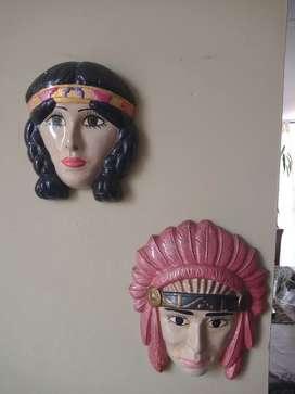 Porcela de pared pareja de indios