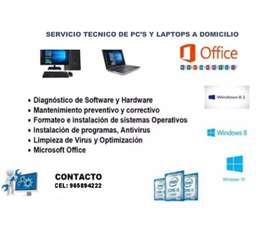 Soporte técnico de Pc's y Laptops a Domicilio