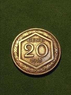 #Moneda 20 centavos Italia 1918 primera guerra.
