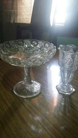 Frutera Y Florero de Cristal Vintage