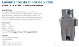 LAVAMANOS DE FIBRA DE VIDRIO DE UN CAÑO.
