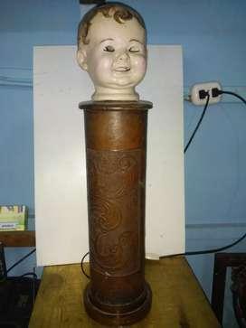 Lampara Cabeza de Muñeco Antiguo