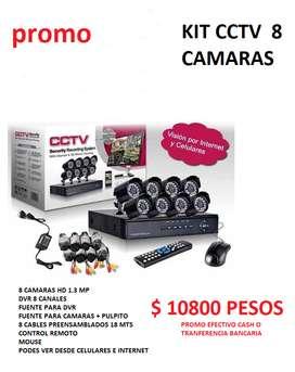 CAMARAS DE SEGURIDAD  ( KIT X 8 CAMARAS ) HD