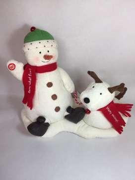 Muñeco de nieve y perrito navideño
