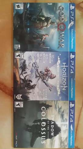 Vendo juegos para ps4 (shadow of the colosus, horizon zero dawn EC, god of war)