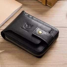 Tienda. Billetera en cuero Natural para hombres con cremallera diseños exclusivos completos