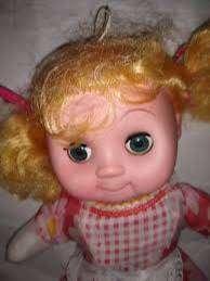 Muñeca 35cm habla cabeza Goma Mueve Ojos+pelo+cuerpo Tela+pila