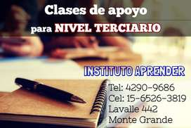 CLASES DE APOYO PARA NIVEL TERCIARIO EN EL CENTRO DE MONTE GRANDE