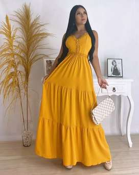 Vestido largo mostaza talla LXL