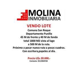 Vendo lote San Roque a 2 cuadras ruta nueva