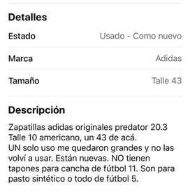 Zapatilla Adidas  originales  predator 20.3 talle 10 americano  nro 43