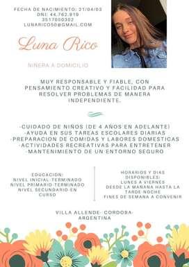 Niñera muy responsable por Villa Allende y Villa Rivera Indarte