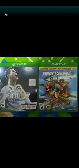 Just Cause 3 y Fifa 18 para Xbox one en excelente estado.