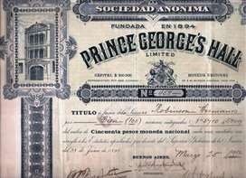 ANTIGUO TITULO DE ACCIONES DE PRINCE GEORGE'S HALL 1912 / 1923