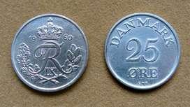 Moneda de 25 öre Dinamarca año 1960