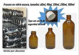 Frascos de vidrio oscuro, envase tipo botella