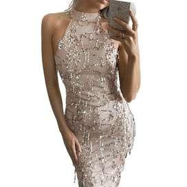Vestido de Lentejuelas Nude
