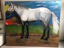 Pintura cuadro grande de caballo blanco