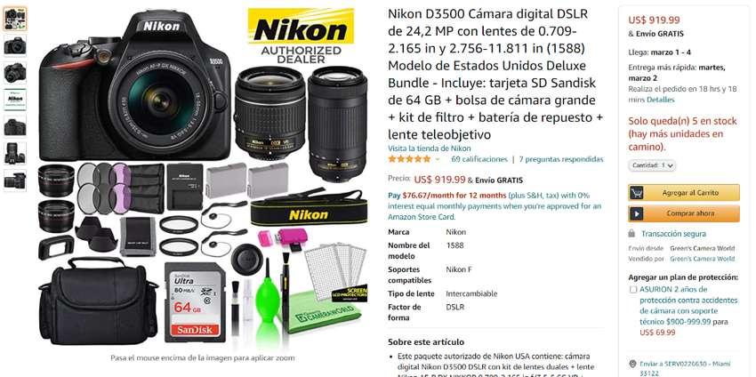 Camara Nikon D3500 0