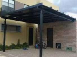 Cerrajero y Gypsum estructura metalicas con policarbonato y novalosa pérgolas puertas portones pasamanos