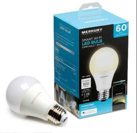 Merkury Innovations A19 Bombillo de luz inteligente, LED blanco regulable de 60 W, requiere WiFi de 2,4 GHz,