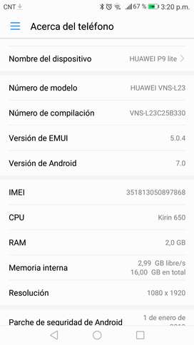 Huawei p9 life total funcional