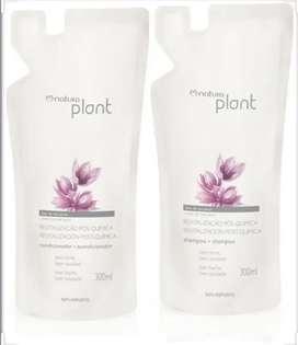 Kit revitalizacion postquimica natura plant x 2 shampoo y acondicionador 300ml cada repuesto