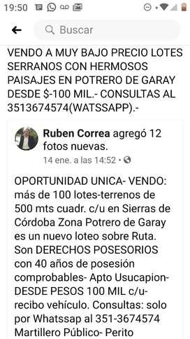 OPORTUNIDAD UNICA: VENDO MAS DE CIEN LOTES POTRERO DE GARAY DESDE $100 MIL.