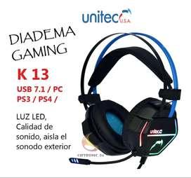 Diadema Gamer Unitec K13, Usb 7.1 Virtual Ps3/ps4/pc Luz Led