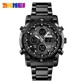 Reloj Skmei 1389 Acero Inoxidable Cronografo Alarm Agua 48mm