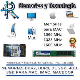 Memorias ram PC, Laptop y MAC