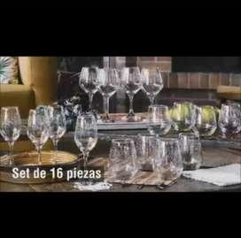 Set de vasos y copas x 16 piezas