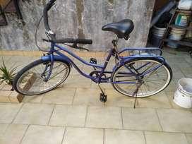 Bicicleta Dama Azul Rodado 26 Con Canasto
